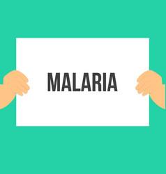 Man showing paper malaria text vector