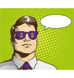 Man with sunglasses dollar sign vector