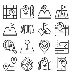 map icons set on white background line style vector image