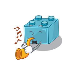 Mascot design concept lego brick toys playing vector