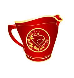 Milk jug of red porcelain gold ornament heart vector