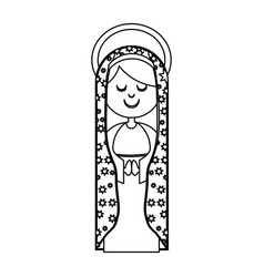 Monochrome contour of virgin of guadalupe with vector