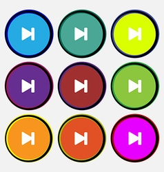 Next track icon sign Nine multi-colored round vector
