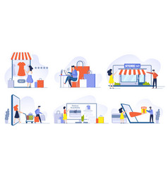 online shopping mobile shopping internet store vector image