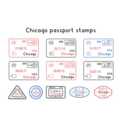 Passport stamps chicago usa arrival and vector