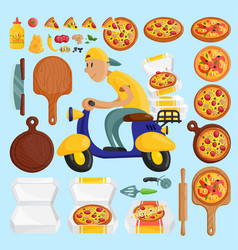Pizza delivery boy italian pizzeria cartoon vector