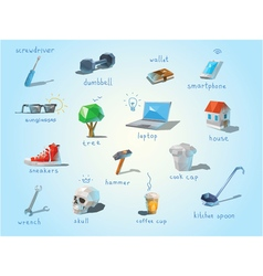 polygonal set of different subjects work end home vector image