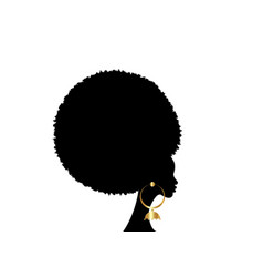 portrait african woman black curly afro hair style vector image