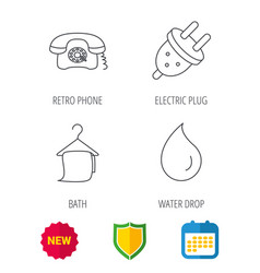 Retro phone bath towel and electric plug vector