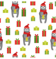 seamless pattern sloth with gifts vector image