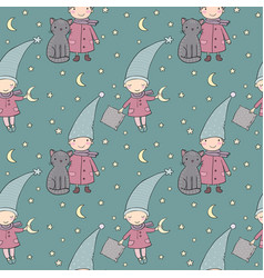 seamless pattern with cute gnome and cat vector image vector image