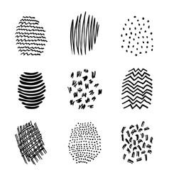 set 9 hatching hand drawn vector image