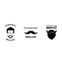 Set international mens day greeting card vector