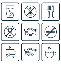 Set of 9 restaurant icons includes fork knife no vector