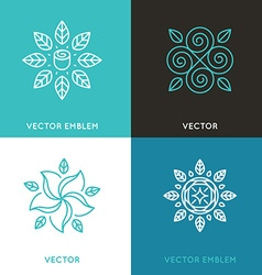 Set of logo design templates in trendy linear vector