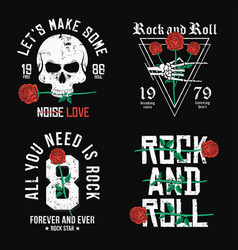 Set of rock and roll t-shirt design red roses vector