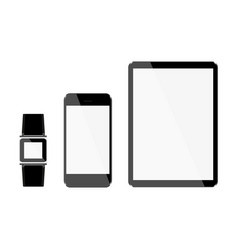set of tablet and phone hours with light displays vector image