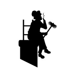 silhouette chimney sweep in pipe with tools got vector image