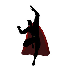 Silhouette of a superhero in flying pose vector