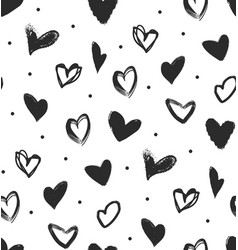 simple seamless pattern with black hearts vector image
