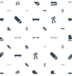 skater icons pattern seamless white background vector image