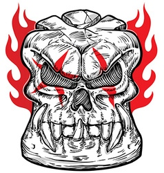 Skull sketch design with flame vector