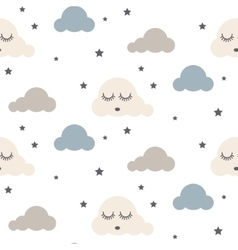 Sleepy clouds seamless pattern vector