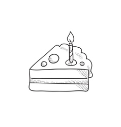 Slice of cake with candle sketch icon vector image
