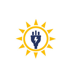 Solar energy sun and electric plug logo vector
