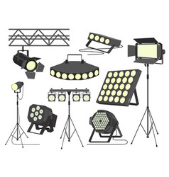stage spotlight set flat isolated vector image