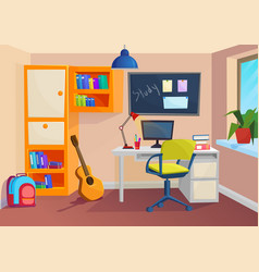 Student or pupil room workplace in room vector
