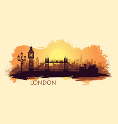 Stylized landscape london with with big ben vector