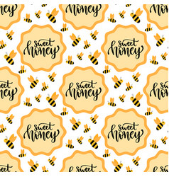 Sweet honey seamless pattern packaging design vector