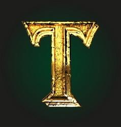 T golden letter vector