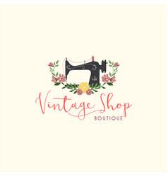 Tailor sewing vintage fashion floral retro logo vector