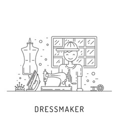 tailor working sewing workshop vector image