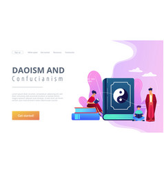 Taoism concept landing page vector