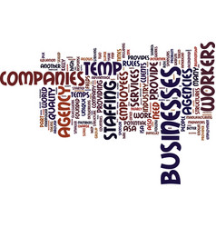 Temp agency companies text background word cloud vector