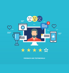 testimonials feedback reviews and raiting like vector image