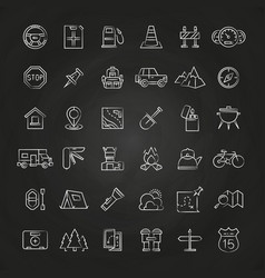 tourism and travel brush line icons collection vector image