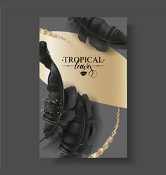 Tropic banana leaf black and gold banner vector