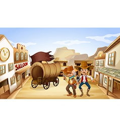 Two dangerous armed men near the saloon bar vector image