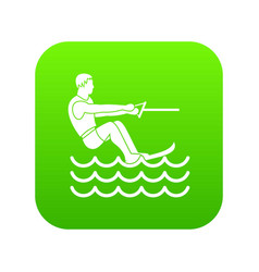 water skiing man icon digital green vector image