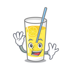 Waving lemonade character cartoon style vector