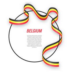 Waving ribbon flag belgium on circle frame vector