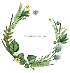 Wild plants wreath vector