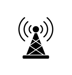 wireless connection black icon sign on vector image