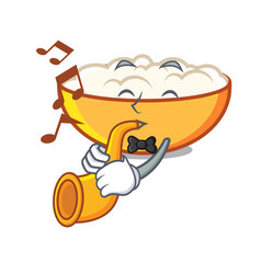With trumpet cottage cheese mascot cartoon vector