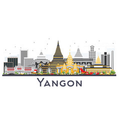 Yangon myanmar city skyline with gray buildings vector