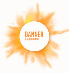 Yellow and orange banner with realistic powder vector